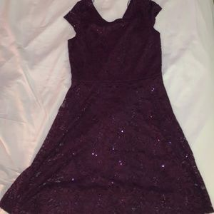 Formal Purple Sparkly Fit and Flare Dress